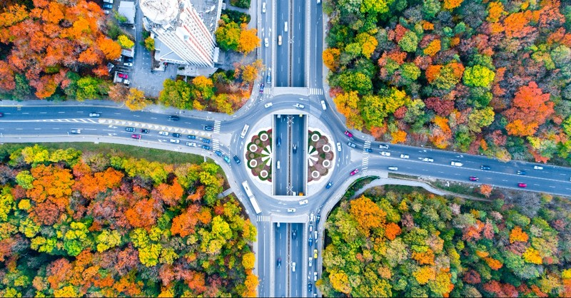 A roundabout in the fall