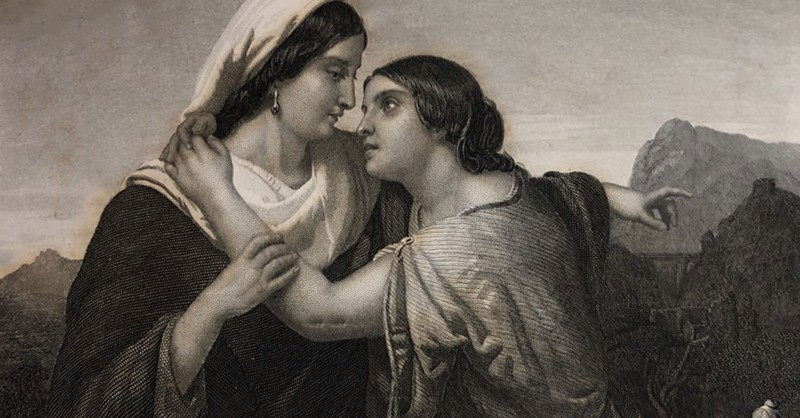 illustration of orpah or ruth hugging naomi from Bible