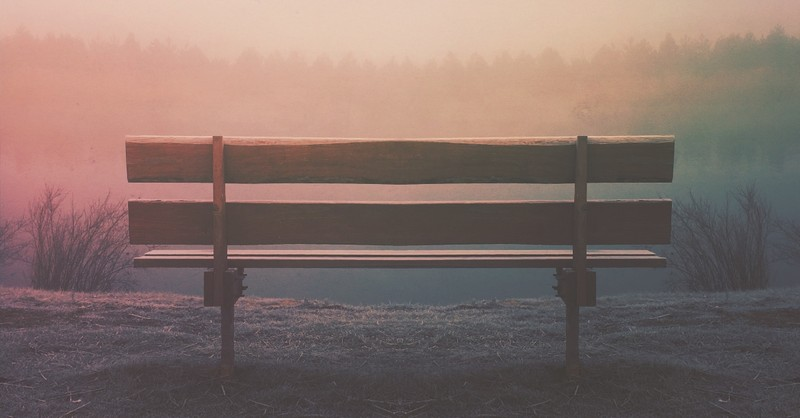 peaceful bench scene in nature with soft light, bible verses and prayers for patience