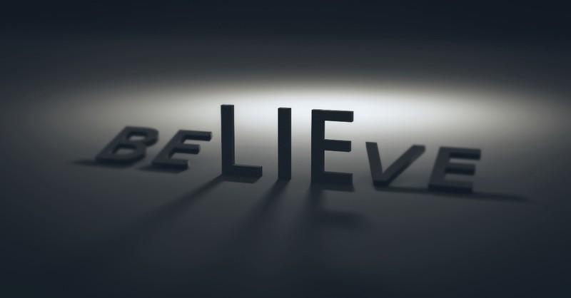 The word believe with the word lie highlighted