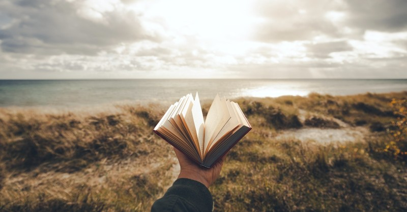 A hand holding out a Bible behind a seascape