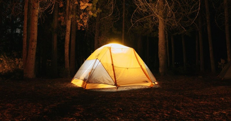tent woods camping shelter forest night
