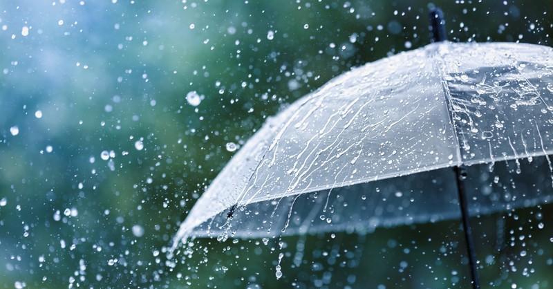 Umbrella in heavy rain