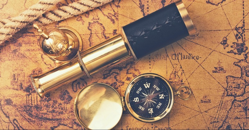 Antiquated map, spy glass, and compass
