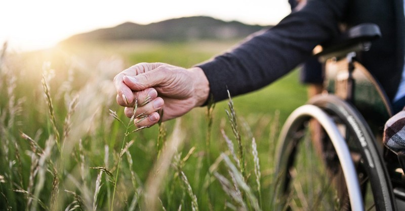 Man in a wheelchair in a field