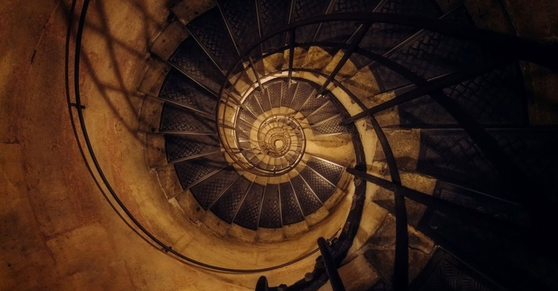 spiral stair stairs staircase down downward sin dark stairwell