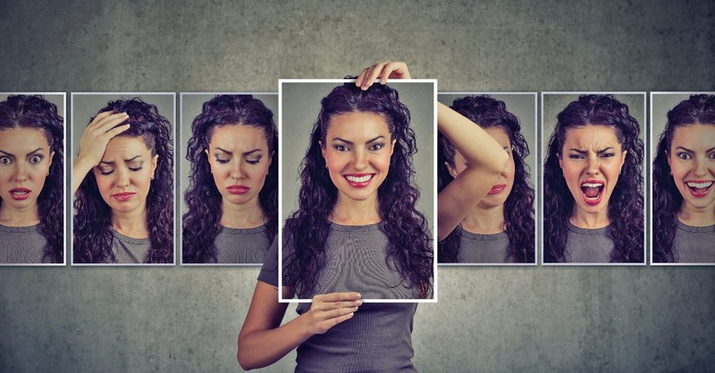Woman displaying multiple emotions