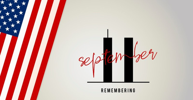 Remembering September 11 with two towers and American flag