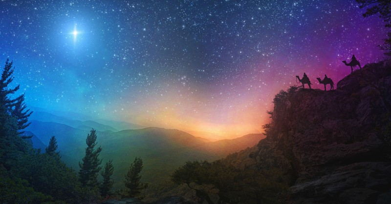 three wise men on hill with starry sky