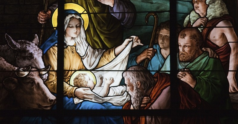 baby jesus christmas advent stained glass