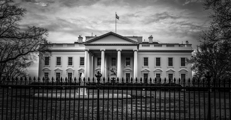 black and white photograph of the White House in Washington DC