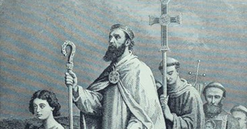 drawing of St. Patrick in Ireland with the cross