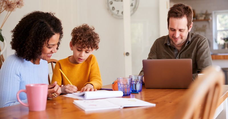 Family homeschooling a child