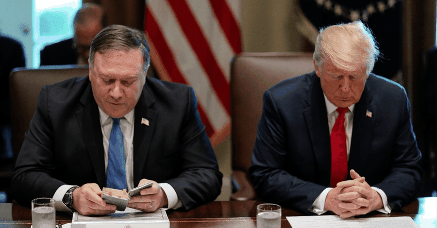 Trump Cabinet Meeting Begins with Prayer by Secretary of State Mike Pompeo