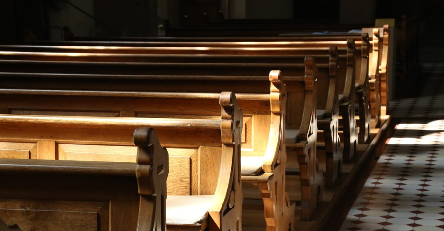 Row of pews in a church