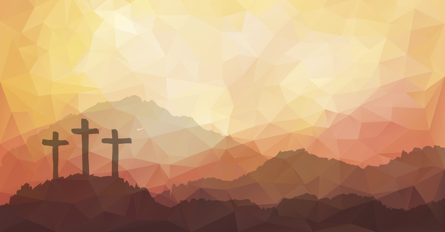 Artistic rendering of three crosses on a hill