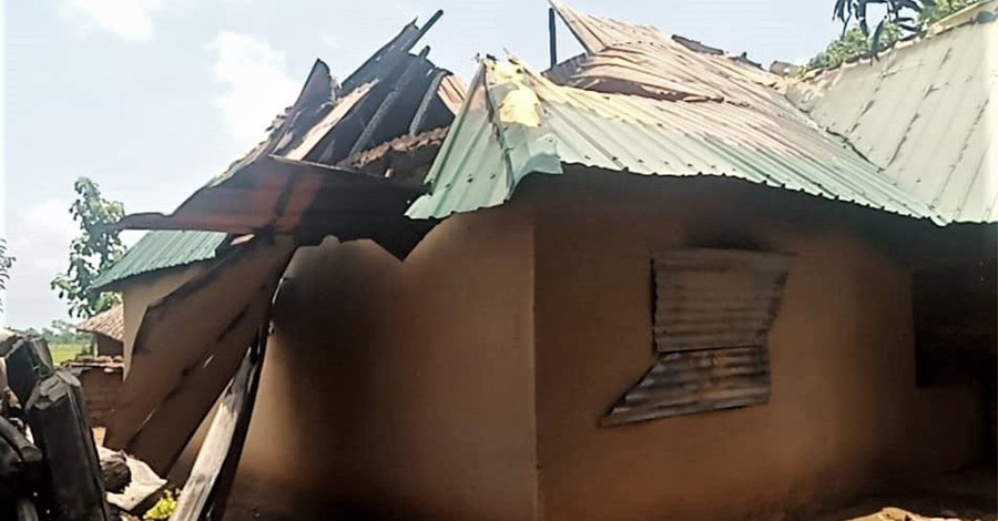 A building destroyed by Fulani militants, 2 Christians are killed and two other kidnapped in Nigeria