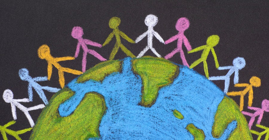 chalk drawing of stick people of all ethnicities around the world