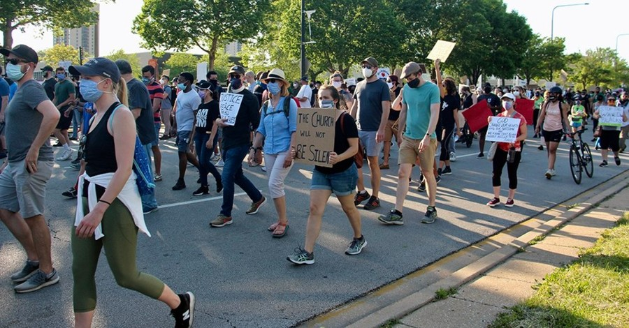 Protesters are part of a peaceful march in downtown Chicago