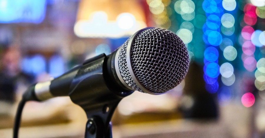 close up of microphone at performance