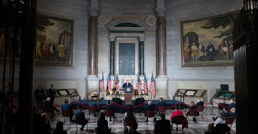 Donald Trump at National Archives Museum, Trump to launch commission implementing patriotic education