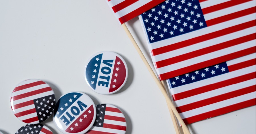 "vote pins and mini American flags, pastor asserts that voting for ""the lesser of two evils"" is still evil"