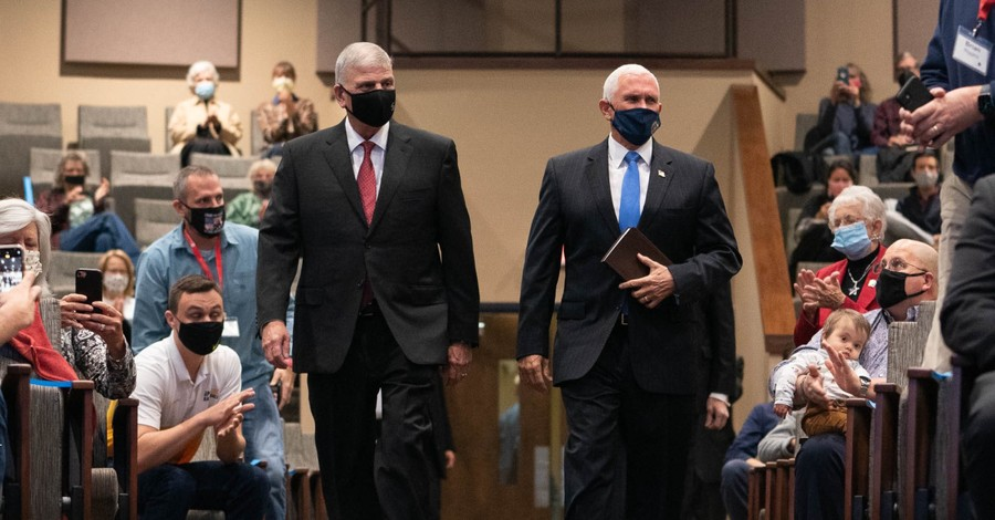 Mike Pence and Franklin Graham, Pence and Graham attend church together in North Carolina