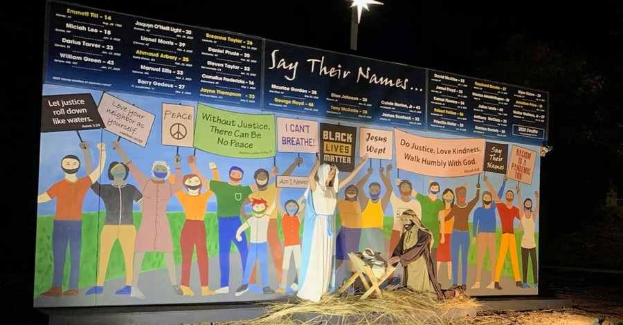 The Holy family amid a BLM protest, Claremont United Methodist Church despite the Holy family in a BLM protest in his years nativity scene