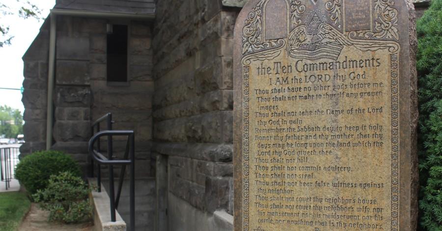 A statue of the Ten Commandments, Satanists want a statue of Baphomet erected alongside the Ten Commandments Monument in the Arkansas capitol