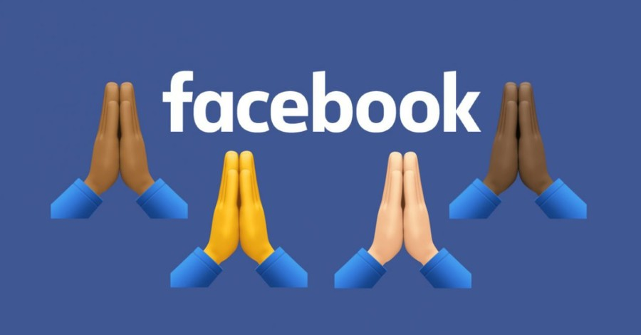 Praying hands emojis on a Facebook banner, Facebook introduces prayer request posts