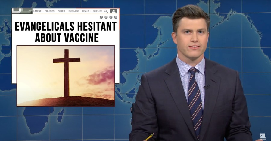 Colin Jost on SNL, Jost pokes fun at evangelicals who are vaccine hesitant