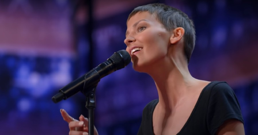 Nightbirde singing on the AGT stage, Liberty University graduate gets a golden buzzer on AGT