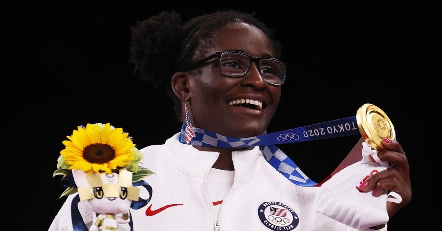 Tamyra Mensah-Stock, Mensah-Stock thanks God after winning Gold