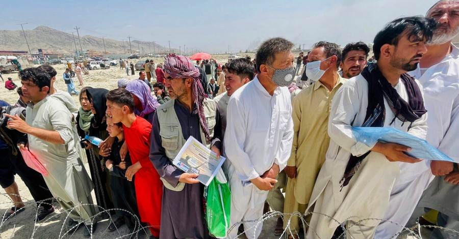Afghan refugees at the Kabul Airport