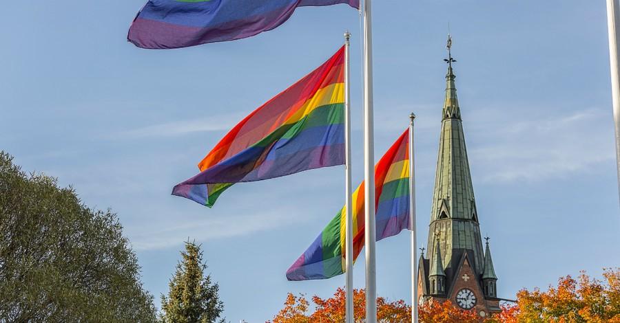 Rainbow flags flying